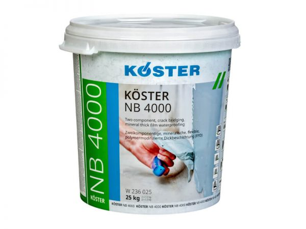 Ksoter NB 4000 - Dviejų komponentų, įtrūkimus padengianti, storasluoksnė hidroizoliacija. Greitas džiūvimas, tinka kliejuoti plyteles.